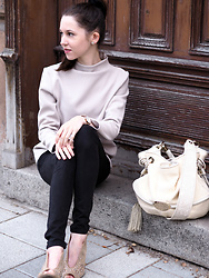 Claire H - Lyvem Sweater, Zara Black Pants, Högl Peeptoe Heels, Lancel Brigitte Bardot Bag - Basically unexpected