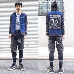 @KiD - Obey Suicidal Tendencies, Obey No Justice No Peace, Off!, Funk Plus Studs Bracelet, Supa Resque Wears Crust Shorts, Hurris Brown Studs Sneaker - JapaneseTrash225