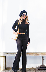 Eliza Romero - Free People Mock Sheer Layering Turtleneck, Topshop Orange Skinny Belt With Scottish Terrier Detail, Free People Black Denim Flares, Gucci Vintage Handbag, Asos Black Wool Slouch Beret, Quay On The Prowl Sunglasses, Jeffrey Campbell Shoes Black Platform Boots - The French Connection