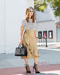 Elizabeth Lee (Stylewich) - Raen Ashtray Sunglasses, Zara Polka Dot Top, Topshop Ruffle Skirt - Polka Dot Lady