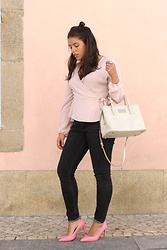 Joana Sá - Bershka Blouse, Bimba Y Lola Bag, Mango Black Denim, Zara Shoes - La Vie en Rose