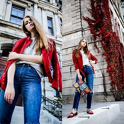 Julia - Zara Jacket, H&M Tee, H&M Jeans, Julia Kays Bag, Zara Shoes - Red fever