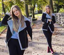 Emma Reay - Sammy Dress Faux Fur Lined Jacket, Light In The Box Striped Embroidered Top, Sammy Dress Black Fleece Lined Jeggings - COSY AUTUMN WALKS