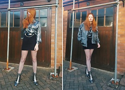 Ash M - The Vintage Kilo Sale Silver Shirt, Asos Reclaimed Vintage Chain Belt, Primark Embellished Boots, The Beatnik Emporium Windbreaker - Industrial Silver