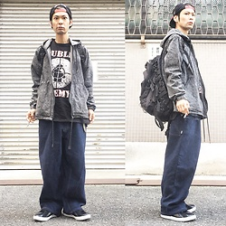 "@KiD - Afterbase Japanese Hard Core ""Sand"" Cap, Public Enemy Fight The Power, Rvca Chemical Denim Hoodie, Elephant Tribal Fabrics D Can Bag, Air Walk The One - JapaneseTrash228"