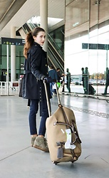 Veronika Lipar - Isabel Marant Wedged Sneakers, Burberry Navy Trench Coat - Airport Chic