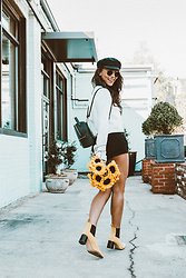 Alexandra Lord - Goorin Brothers Fisherman Cap, Forever 21 Boxy Sleeve Tie Top, Forever 21 Mini Backpack, One Teaspoon Bandits - FALL FLOWER CHILD?
