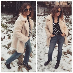 Alla Dolzhenko - Glamorous Fur Jacket, Jack &Jones Jeans Cutting By Me, H&M Polka Dot Shirt, Jeniffer Belt, Round Frames, Topshop Boots With Gold Heels - Teddy bear ?