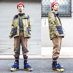 @KiD - Obey Red Beenie, 2pac Tupac, Insight Camouflage Jacket, Used Real Dokata Pants, Camper Bernhard Willhelm - JapaneseTrash230