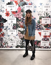 Liva Bambale - Mango Floral Chain Bag, Asos Boy Hat, H&M Denim Jacket, H&M Turtleneck, Asos Ankle Boots, H&M Faux Leather Jeans - ERDEM x H&M event