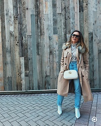 Bernadette - Forever 21 Fur Collar Trench, Revolve Free People Sweater Lace, Topshop White Booties - Casual Friday's