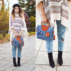 Tamara Bellis - H&M Poncho, Zaful Jeans, Rosegal Ankle Boots, Sammydress Embroidery Bag - Comfy and Warm