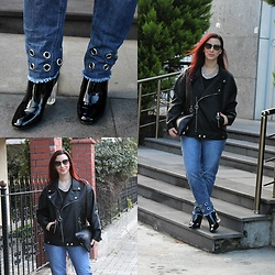 Rebel Takipte - Zaful Oversized Leather Jacket, Gamiss Blue Jeans, Ami Club Wear Black Boots - Oversized Leather Jacket