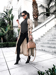 Jessi Malay - Topshop Striped Turtleneck Bodysuit, Dl1961 Emma Power Legging Maternity Jeans, Aritzia Duster Coat, Tony Bianco Davis Bootie, Dylanlex Ivy Earrings, Givenchy Small Antigona Leather Bag - Satin Duster + Maternity Staples || #35weeksPregnant