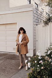 Tonya S. - Vintage Max Mara Coat, Nanushka Plaid Pants, Mari Giudicelli Leblon Mules, Rag & Bone White Tee - Fall Neutrals in San Francisco