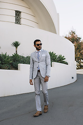 Hector Diaz - Topman Light Gray Slim Fit Suit, Zara White Dress Shirt, Tommy Hilfiger Checkered Gingham Tie, Salvatore Ferragamo Leather Belt, J. Crew Pocket Square, Topman Tan Leather Monk Shoes - City of Stars