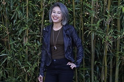 Jamie Langworthy - Forever 21 Necklace, Free People Faux Leather Moto Jacket, Forever 21 High Waisted Black Pants - Dark yet happy