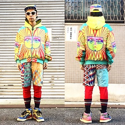 @KiD - Crazy Pattern Cap, Neon Yellow Hoodie, Vintage Phychederic Jacket, Rvca Crazy Pattern Swim Shorts, Adidas Red Jersey, Adidas Crazy Pattern Sneaker, Love Jesse Designs Ring - JapaneseTrash238