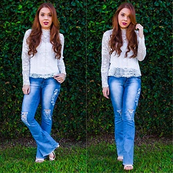 Priscila Figueredo - Lovelywholesale Lace Shirt, Flare Pants Jeans - Lace and Jeans;