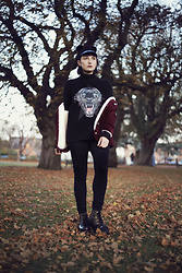 Amy Souter - Primark Cord Jacket, Tu Clothing Black Jeggings, Rose G Creepers, H&M Panther Jumper, H&M Pom Pom Hat - AUTUMN