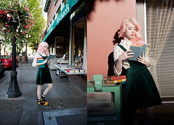 Kailey Flyte - Modcloth Cat Blouse, Modcloth Green Pinafore - Literary