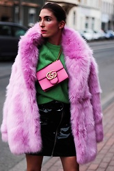 Malia Keana - H&M Faux Fur, H&M Sweater, H&M Vinyl Skirt, Gucci Crossbody Bag - Flamingo Faux Fur