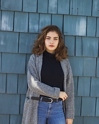 Gabrielle - Topshop Gray Coat, Pacsun Medium Wash Blue Jeans, H&M Black Belt With Silver Buckle, Macy's Black Turtleneck - Windy Day Out