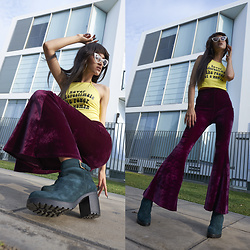 Andrea Chavez - Faux Store Never Underestimate The Power Of A Woman Halter Top, Bruno Ferrini Concept Green Boots, Faux Store Velvet Bell Bottoms - NEVER UNDERESTIMATE THE POWER OF A WOMAN