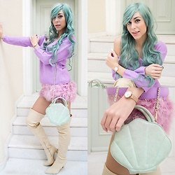 Marina Mavromati - Rosegal Mint Wig, Dresswel Purple Knitted Sweater, Chic Me Over The Knee Sock Boots, Daniel Wellington Classic Petite Melrose Watch - Cozy Mermaid Vibes...