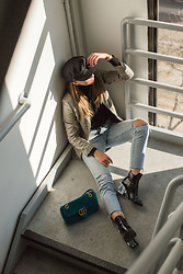 Veshion Life - Gucci Marmont, Jeffrey Campbell Shoes Boots, Levi's® Levis 501, Boohoo Checked Blazer, Urban Outfitters Baker Boy Hat - Sunflower