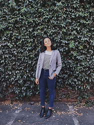 Taylor Brown - Forever 21 Striped Shirt, H&M Plaid Blazer, Asos Blue Jeans, Dune London Black Booties - The Mätlē: Still Not Fall in LA