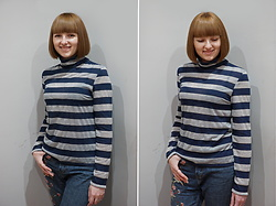 Yana Bezdushna - Hand Made By Yana Bezdushna Sweater, Zaful Jeans - Striped