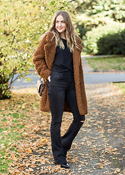 Jenaly Enns - Forever 21 Top, Jeans And Coat, Louis Vuitton Favorite Mm, Acne Studios Cony Boots - Legs for days