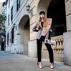 Julia - Zara Faux Fur Stole, Shein Blazer, Zara Pants, Aldo Shoes - Street smart