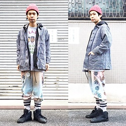 @KiD - De La Soul Tee, Rvca Chemical Denim Hoodie, Hickory Cover All, Taima Do Phychederic Sweat Pants, Puma Hussein Chalayan - JapaneseTrash246