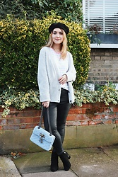 Daisy A - Asos Black Beret, Light Grey Oversized Cardigan, Asos White, Green And Pink Striped T Shirt, Pu Leather Leggings, River Island Black Heeled Ankle Boots, Kurt Geiger Baby Blue Quilted Gieger Handbag - Dressing for Winter