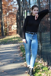 Gabrielle - Pacsun Medium Wash Blue Jeans, Doc Marten Black Boots, H&M Black Belt Silver Buckle, Forever 21 Mockneck Bodysuit - Classic and Basic