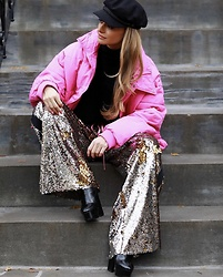 Lauren Recchia - Brixton Cap, Free People Cropped Puffer Coat, Milly Pullover, Nude Fashion Sequin Pants, Saint Laurent Black Platform Boots - Slouchy Sequins