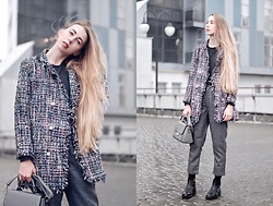 Lisa - Zaful Jacket, Rosegal Bag - Tweed jacket