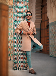 Mohcine Aoki - Zara Beige Coat, Reiss Burgundy Sweater, Zara Denim Trouser, Martinelli Brown Shoes, Komono - Ready for winter