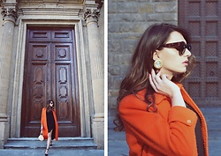 Enrica Scielzo - Vintage Earrings, Celine Turtle Sunglasses, Vintage Casentino Coat, Zara Little Black Dress, Louis Vuitton Papillon Vintage Bag, Vintage Shoes - ONE MORNING IN FLORENCE