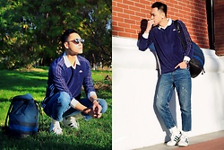 Chris Su - Adidas X Alexander Wang Sweatshirt, Zara Jeans, Adidas Sneakers, Burberry Backpack - School