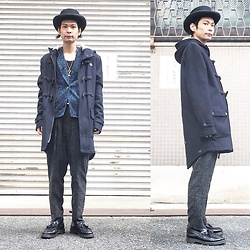 @KiD - Newyork Hat Coachman, Insight Duffel Coat, Vintage Paisley Jacket, Marc By Jacobs Key Necklace, Ch. Gray Pants, Dr. Martens Tussle Loafer - JapaneseTrash252