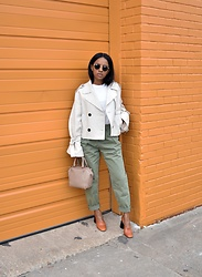 Knits Over Coffee - Mango Cropped Trench Coat, Topshop Cargo Trousers, Alexander Wang Emile Bag, Mango Square Toe Block Heels - Fall Neutrals