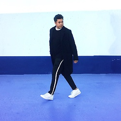 ALLEN M - H&M Coat, H&M Sweatshirt, Asics Shoes, Zara Trousers With White Stripes - WHITE STRIPES