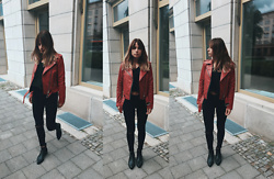 Sarah Spe -  - Red Leather Jacket
