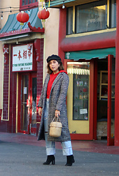 Yuka I. - Red Hoodie, Jeans, Houndstooth Coat, Boots, Basket Bag - Big trouble in little china