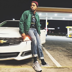 "C.K. - Nike Air Max 97 ""Silver Bullets"", H&M Tapered Jeans, Old Navy Lite Jacket, Cotton On Graphic Tee, Target Beanie, Nike Socks - Night Stalker"