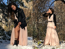 Sisi R.R. - Kendall + Kylie Light Pink Long Wrap Dress, Zara Black Turtleneck Top, Black Patent Leather Ankle Boots - Strawberry Winter Wonderland