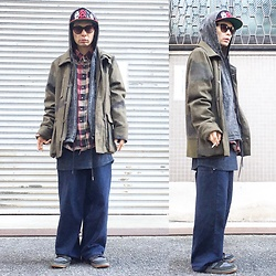 @KiD - Sand Japanese Hardcore Cap, Scheme Warriors Camouflaged Jacket, Rvca Chemical Denim Hoodie, Members Only Flannel Shirts, 90s Pants, Nike Dunk - JapaneseTrash256